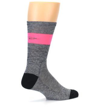 Image of Gray Pink Stripe Men's Crew Athletic Socks (side-1-23)