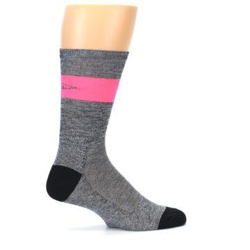 Image of Gray Pink Stripe Men's Crew Athletic Socks (side-1-24)