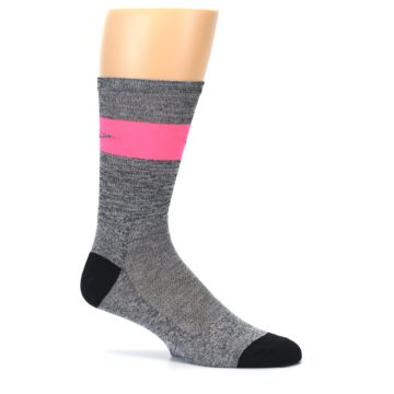 Image of Gray Pink Stripe Men's Crew Athletic Socks (side-1-25)