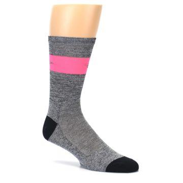 Image of Gray Pink Stripe Men's Crew Athletic Socks (side-1-26)