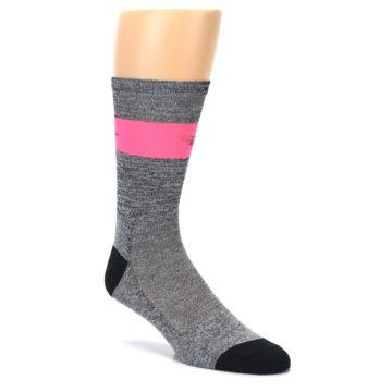 Image of Gray Pink Stripe Men's Crew Athletic Socks (side-1-27)