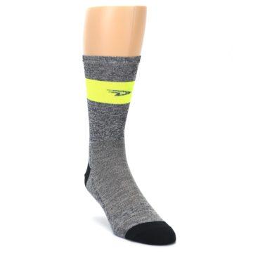 Image of Gray Neon Yellow Stripe Men's Crew Athletic Socks (side-1-front-02)
