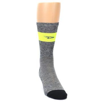 Image of Gray Neon Yellow Stripe Men's Crew Athletic Socks (side-1-front-03)