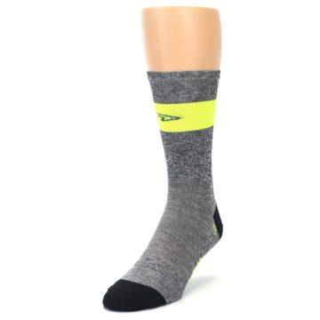 Image of Gray Neon Yellow Stripe Men's Crew Athletic Socks (side-2-front-07)