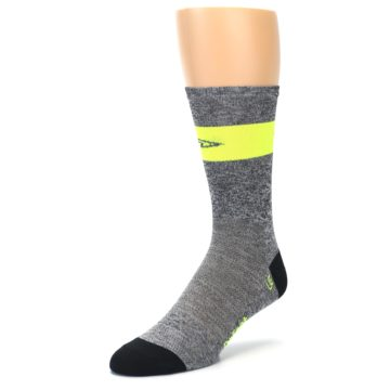 Image of Gray Neon Yellow Stripe Men's Crew Athletic Socks (side-2-front-08)