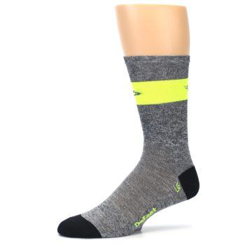 Image of Gray Neon Yellow Stripe Men's Crew Athletic Socks (side-2-10)