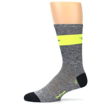 Image of Gray Neon Yellow Stripe Men's Crew Athletic Socks (side-2-11)