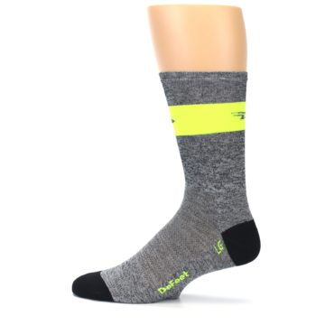 Image of Gray Neon Yellow Stripe Men's Crew Athletic Socks (side-2-12)
