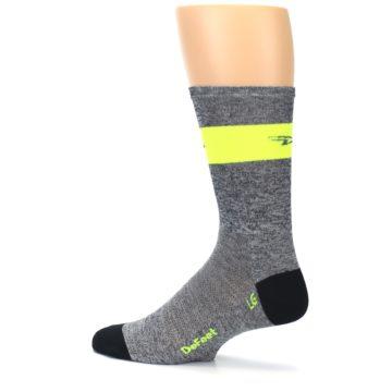 Image of Gray Neon Yellow Stripe Men's Crew Athletic Socks (side-2-13)