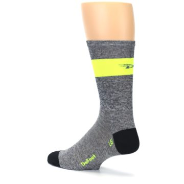 Image of Gray Neon Yellow Stripe Men's Crew Athletic Socks (side-2-back-14)