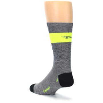 Image of Gray Neon Yellow Stripe Men's Crew Athletic Socks (side-2-back-15)