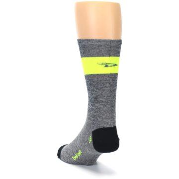 Image of Gray Neon Yellow Stripe Men's Crew Athletic Socks (side-2-back-16)