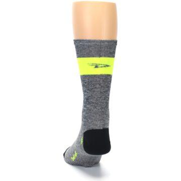 Image of Gray Neon Yellow Stripe Men's Crew Athletic Socks (back-17)