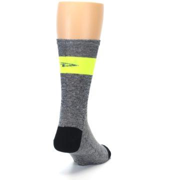 Image of Gray Neon Yellow Stripe Men's Crew Athletic Socks (side-1-back-20)