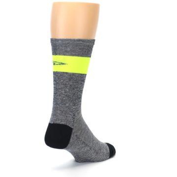 Image of Gray Neon Yellow Stripe Men's Crew Athletic Socks (side-1-back-21)