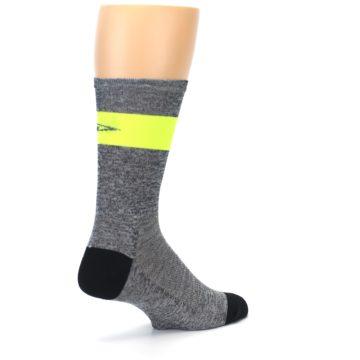Image of Gray Neon Yellow Stripe Men's Crew Athletic Socks (side-1-back-22)