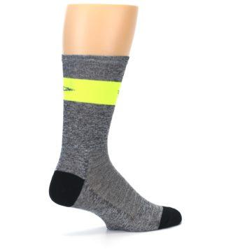 Image of Gray Neon Yellow Stripe Men's Crew Athletic Socks (side-1-23)
