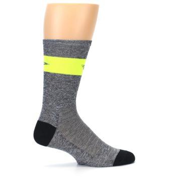 Image of Gray Neon Yellow Stripe Men's Crew Athletic Socks (side-1-24)