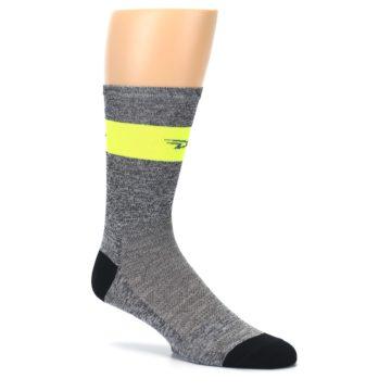 Image of Gray Neon Yellow Stripe Men's Crew Athletic Socks (side-1-26)