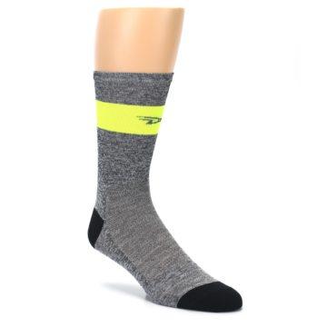 Image of Gray Neon Yellow Stripe Men's Crew Athletic Socks (side-1-27)