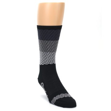 Image of Black Gray Dashes Men's Crew Athletic Socks (side-1-front-02)