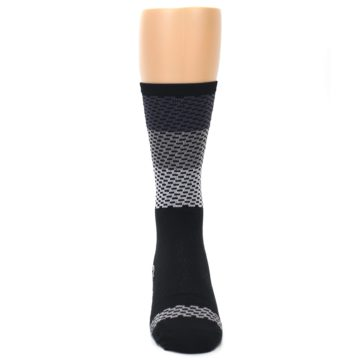 Image of Black Gray Dashes Men's Crew Athletic Socks (front-04)