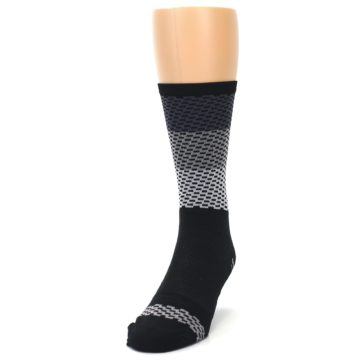Image of Black Gray Dashes Men's Crew Athletic Socks (side-2-front-06)