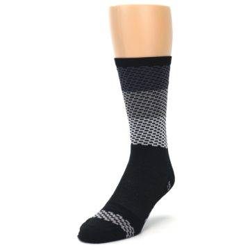 Image of Black Gray Dashes Men's Crew Athletic Socks (side-2-front-07)