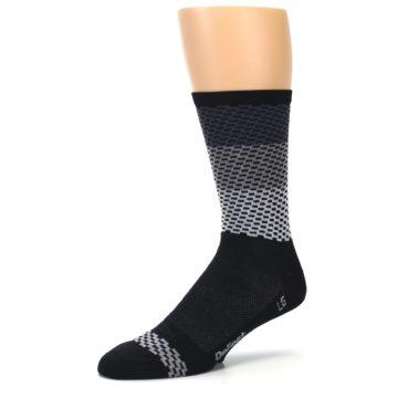 Image of Black Gray Dashes Men's Crew Athletic Socks (side-2-09)