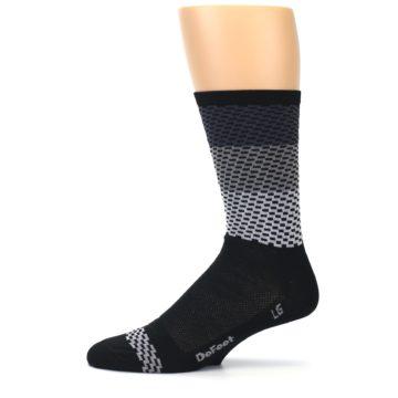 Image of Black Gray Dashes Men's Crew Athletic Socks (side-2-11)