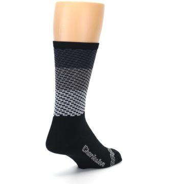 Image of Black Gray Dashes Men's Crew Athletic Socks (side-1-back-21)