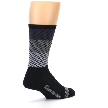 Image of Black Gray Dashes Men's Crew Athletic Socks (side-1-back-22)