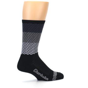 Image of Black Gray Dashes Men's Crew Athletic Socks (side-1-23)
