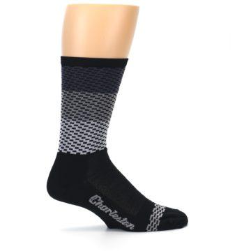 Image of Black Gray Dashes Men's Crew Athletic Socks (side-1-24)