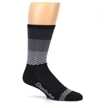 Image of Black Gray Dashes Men's Crew Athletic Socks (side-1-25)