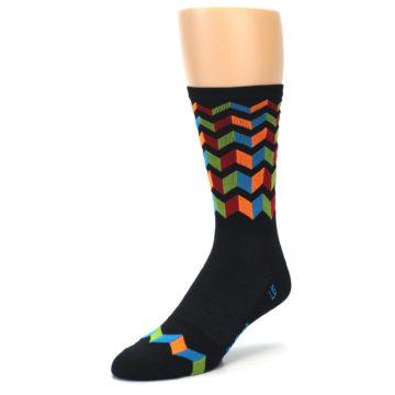 Image of Black Multi Zig-Zag Stripe Men's Crew Athletic Socks (side-2-front-08)