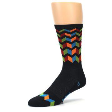 Image of Black Multi Zig-Zag Stripe Men's Crew Athletic Socks (side-2-09)