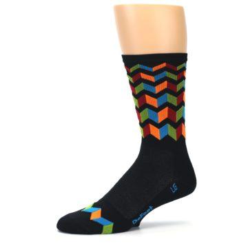 Image of Black Multi Zig-Zag Stripe Men's Crew Athletic Socks (side-2-10)
