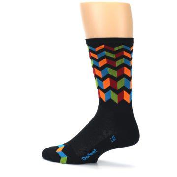Image of Black Multi Zig-Zag Stripe Men's Crew Athletic Socks (side-2-13)