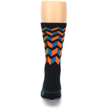 Image of Black Multi Zig-Zag Stripe Men's Crew Athletic Socks (back-18)