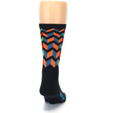 Image of Black Multi Zig-Zag Stripe Men's Crew Athletic Socks (back-19)