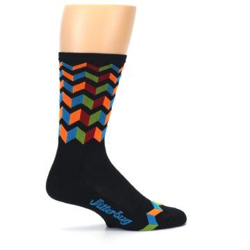 Image of Black Multi Zig-Zag Stripe Men's Crew Athletic Socks (side-1-24)
