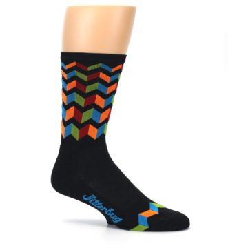 Image of Black Multi Zig-Zag Stripe Men's Crew Athletic Socks (side-1-25)