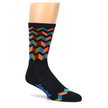 Image of Black Multi Zig-Zag Stripe Men's Crew Athletic Socks (side-1-26)