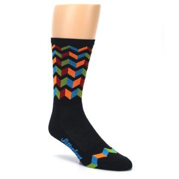 Image of Black Multi Zig-Zag Stripe Men's Crew Athletic Socks (side-1-27)