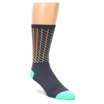 Image of Gray Orange Net Pattern Men's Crew Athletic Socks (side-1-front-01)
