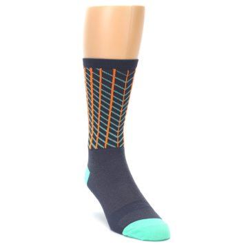 Image of Gray Orange Net Pattern Men's Crew Athletic Socks (side-1-front-02)