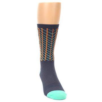 Image of Gray Orange Net Pattern Men's Crew Athletic Socks (side-1-front-03)