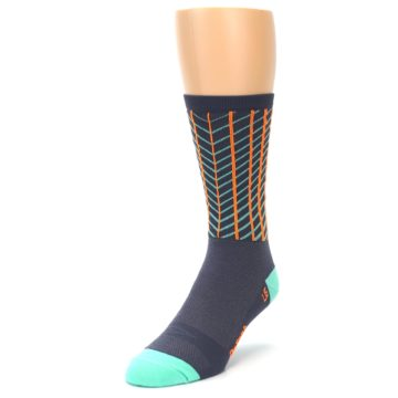 Image of Gray Orange Net Pattern Men's Crew Athletic Socks (side-2-front-07)