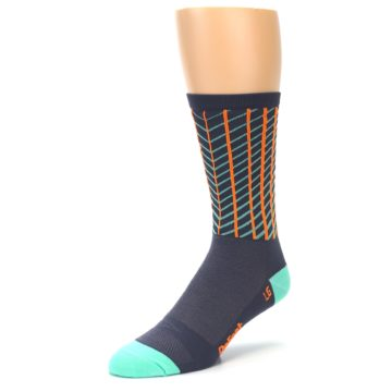 Image of Gray Orange Net Pattern Men's Crew Athletic Socks (side-2-front-08)